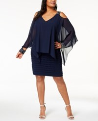 Betsy And Adam Plus Size Cold Shoulder Popover Dress Navy Silver