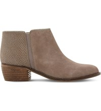 Dune Penelope Reptile Embossed Suede Ankle Boots Taupe Reptile