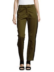 Public School Solid Cotton Pants Army Green