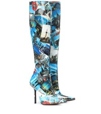 Vetements Printed Leather Knee High Boots Blue