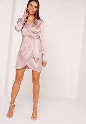 Missguided Silky Long Sleeve Wrap Shift Dress Lilac Mauve