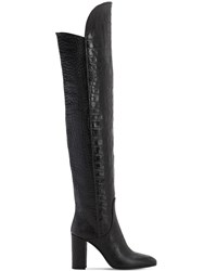 Strategia 90Mm Lady Croc Embossed Leather Boots Black