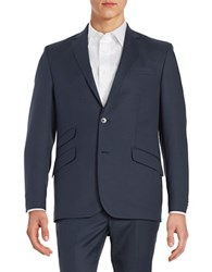 Kenneth Cole Wool Blend Two Button Jacket Blue