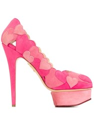 Charlotte Olympia 'Love Me' Applique Pumps Pink And Purple