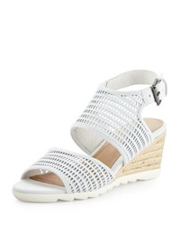 Eileen Fisher Whisper Mesh Suede Wedge Sandal White