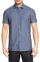 Vince Camuto Men's Trim Fit Mixed Media Sport Shirt Blue Chambray