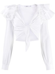 Amen Ruffled Tie Front Cropped Blouse 60