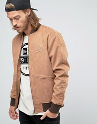 New Era Crafted Faux Suede Bomber Jacket Tan