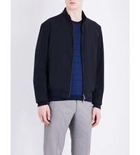Armani Collezioni Exposed Zip Wool Blend Bomber Jacket Navy