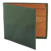 Estados Luxury Leather Mens Billfold Wallet British Racing Green And Tan