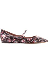 Tabitha Simmons Hermione Floral Print Leather Point Toe Flats Black