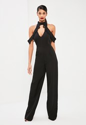 Missguided Tall Exclusive Black Lace Trim Cold Shoulder Romper