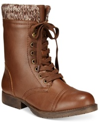Rampage Jeliana Lace Up Combat Booties Women's Shoes Cognac Sweater