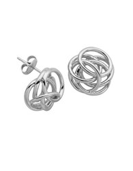 Lord And Taylor High Polished Geometric Knot Stud Earrings Silver