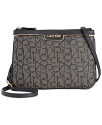 Calvin Klein Monogram Crossbody Textured Khaki Black Black Gold