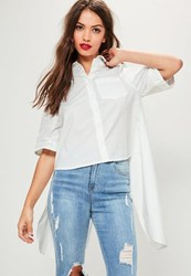 Missguided Tall White Tie Back Short Sleeve Cotton Shirt