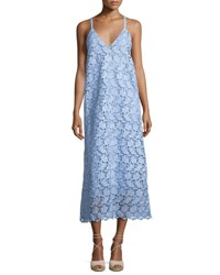 Robert Rodriguez Sleeveless Guipure Lace Midi Dress Blue