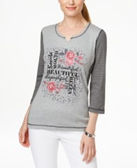 Karen Scott Printed Three Quarter Sleeve Split Neck Top Only At Macy's