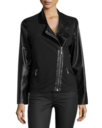 Neiman Marcus Faux Leather Inset Ponte Moto Jacket Onyx