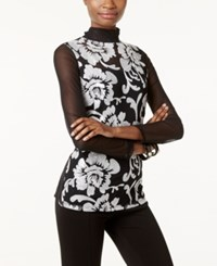 Inc International Concepts Embroidered Sheer Sleeve Top Only At Macy's Deep Black