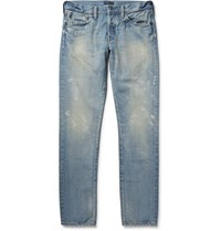 Simon Miller M001 Slim Fit Tapered Distressed Selvedge Denim Jeans Light Denim