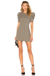 Amanda Uprichard Puff Sleeve Mini Dress Beige