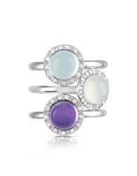 Mia And Beverly Gemstone And Diamond 18K White Gold Ring