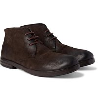 Marsell Washed Suede Chukka Boots Dark Brown