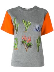 Stella Mccartney Embroidered Floral T Shirt Grey