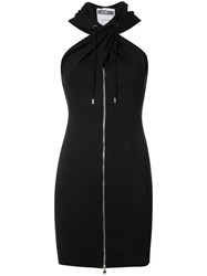 Moschino Twist Front Hoodie Dress Black