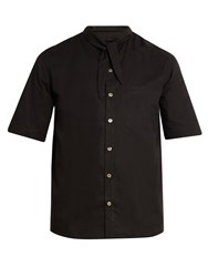 By Walid Tie Neck Short Sleeved Cotton Shirt Black