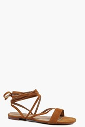 Boohoo Strappy Lace Up Sandal Tan