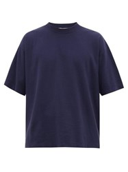 Ymc Triple Oversized Ribbed Cotton T Shirt Navy