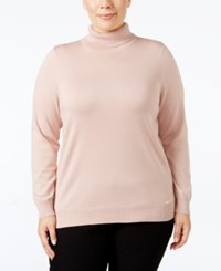 Calvin Klein Plus Size Turtleneck Sweater Blush