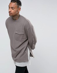 Asos Oversized Longline Sweatshirt With Pocket And Taping Grey