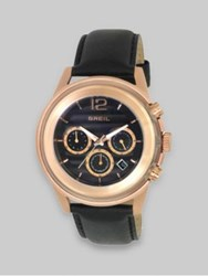 Breil Milano Rose Gold Ip And Black Leather Three Chronograph Watch No Color