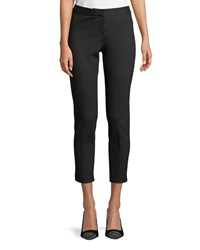 Neiman Marcus Cropped Dotted Slim Pants Black White