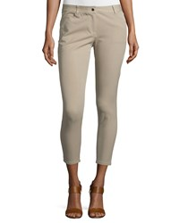 Michael Kors Collection Mid Rise Skinny Cropped Jeans Sand Brown Women's Size 12