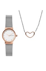 Skagen Women's Freja Crystal Mesh Strap Watch And Necklace Set 26Mm Silver White Rose Gold
