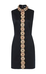 Holly Fulton Sleeveless Floral Embroidered Dress Black