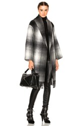 Alexander Wang T By Oversized Shawl Coat In Black Gray Checkered And Plaid Black Gray Checkered And Plaid