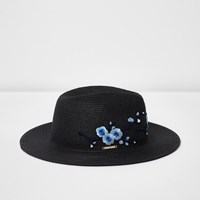 River Island Black Floral Embroidered Straw Hat