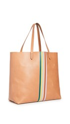 Madewell Classic Transport Tote With Rainbow Stripe Desert Camel Multi