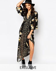 Reclaimed Vintage Maxi Kimono Dress With Low Front In Sheer Floral Black