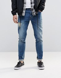 Asos Skinny Jeans With Front And Back Rips In Mid Blue Mid Blue