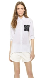 Tess Giberson Shirt With Crochet Pocket White Black