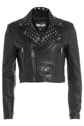 Just Cavalli Cropped Leather Jacket With Stud Embellishment Gr. It 38