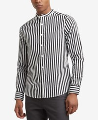 Kenneth Cole Reaction Men's Stripe Print Band Collar Shirt Black
