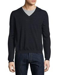 Just Cavalli Long Sleeve V Neck Wool Sweater Blue Navy Men's