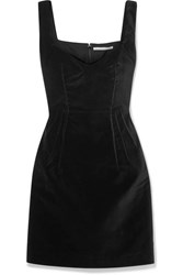 Emilia Wickstead Judita Cotton Velvet Mini Dress Black